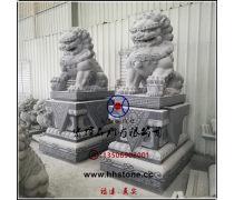大楼宅门石雕北京狮(花岗石戏球狮)传统工艺