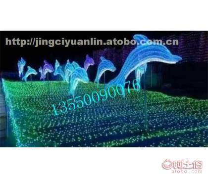 景观公园雕塑造型设计制作厂家 动物雕塑 海豚灯光造型夜景