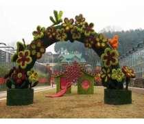 花朵拱门仿真绿雕定制 成都广场立体仿真绿雕造型价格