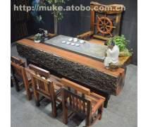 珠海老船木家具/老船木茶桌椅组合/老船木户外茶桌