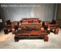 珠海老船木家具/万字沙发/复古洋气沙发/室内仿古沙发