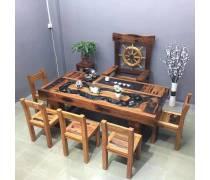 珠海老船木流水茶桌价格|老船木家具生产|老船木桌椅