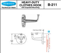 Bobrick B-211 坚固耐用的衣帽钩(外露式安装)
