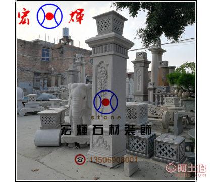 造型简洁大气永定红大门柱 虾红围墙石柱供货工厂