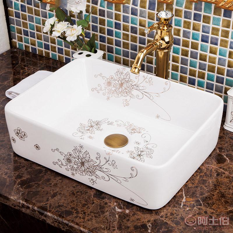 景德镇陶瓷艺术台盆脸盆洗手盆现代简约欧式白色描金长方形台上盆