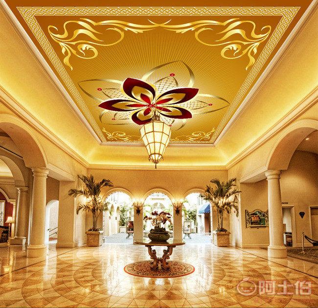 3d立体大型壁画大堂卧室客厅酒店欧式吊顶壁画高端金黄花朵壁画