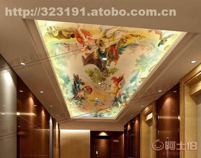 欧式天花手绘天使欧式天花吊顶壁画彩绘