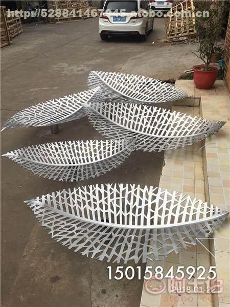 户外景观不锈钢树叶雕塑|不锈钢镂空叶子雕塑厂家价格图片