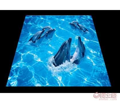 香港3D浴室地板海豚海水海底世界�芍缓k嗟匕�
