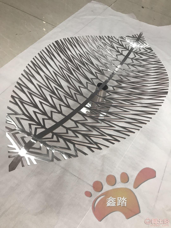 景观抽象不锈钢树叶雕塑-艺术叶子雕塑 成品图图片