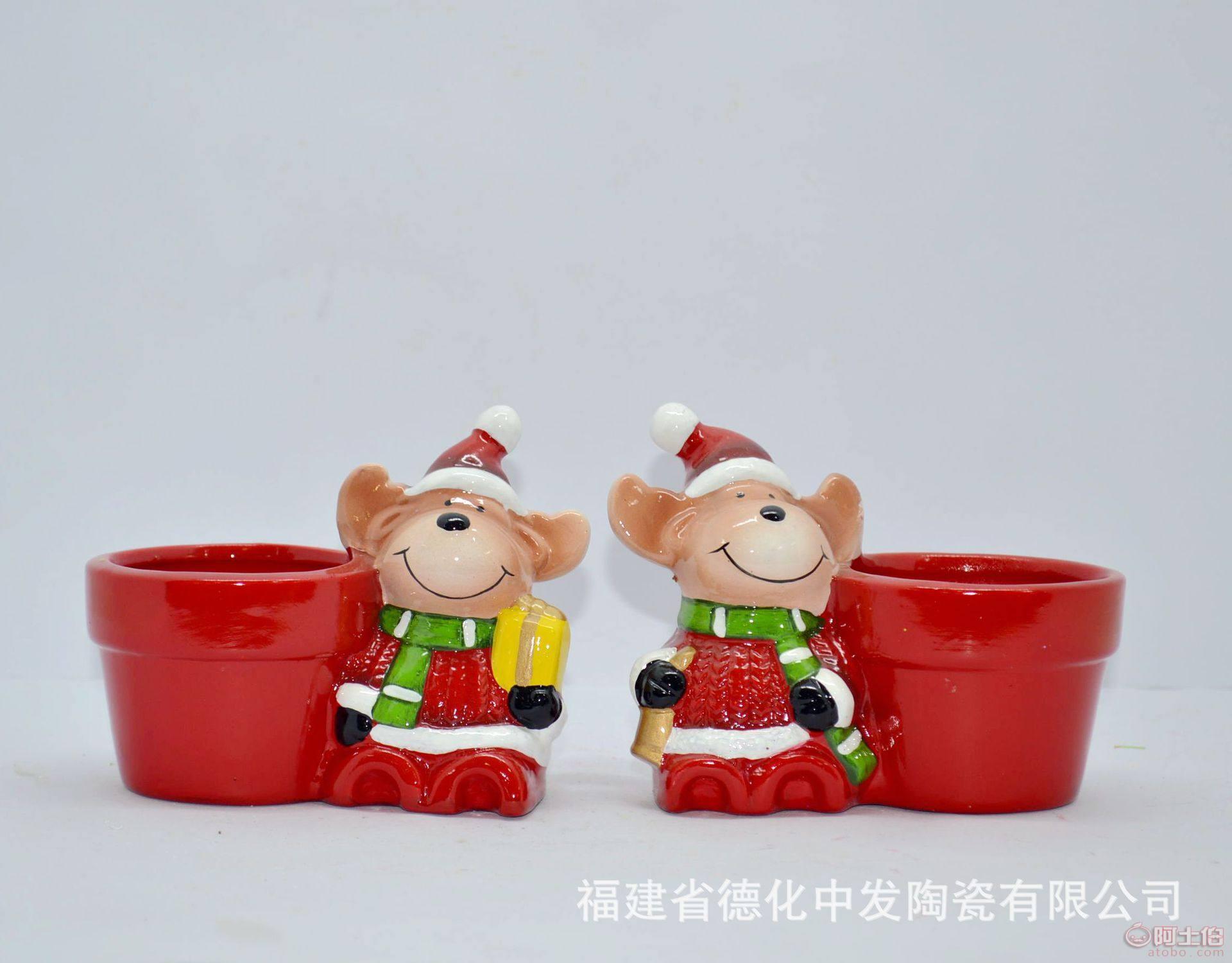 中发外贸欧美家居简约手彩复活节陶瓷圣诞老人多肉花盆厂家直销
